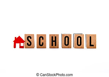 Home Ideas - block letters with red home / house icon with white background