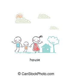 home., illustration., 家庭