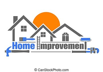 An illustration of home improvement icon on white background