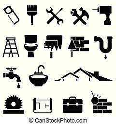 Home improvement and renovation icon set - Home improvement,...
