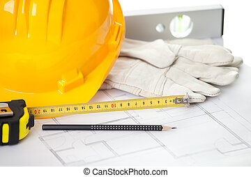 Home improvement concept - Construction equipments - Hardhat...
