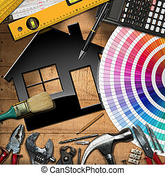 Home Improvement Concept - Work Tools and House