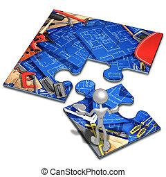 Home Improvement Construction Concept Puzzle - 3D Concept...