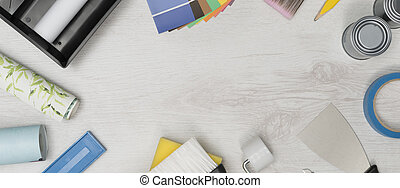 Home Improvement Painting Tools and Supplies with Copy Space