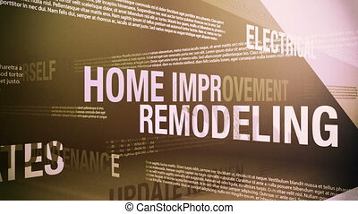 Seamlessly looping animation showing a variety of home improvement related terms and concepts.