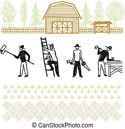 Hand drawn home improvement works and services, country house building, carpenter, farm people, flat vector illustration