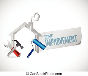 home improvement sign and tools. illustration design over a ...