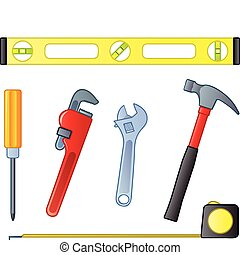 Six common home improvement or contractor tools.