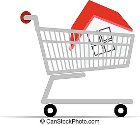 Home in a shopping cart.