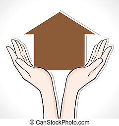 Home in hand stock vector
