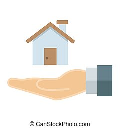 Home in hand flat icon, business and finance, buy