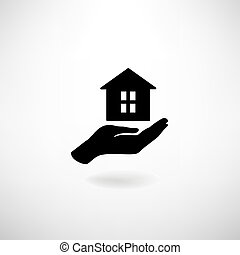 Home in hand. Housekeeping sign. Real Estate, insurance icon