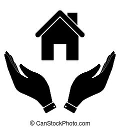 Home in hand icon