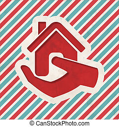 Home in Hand Icon on Striped Background.