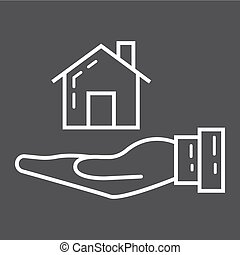 Home in hand line icon, business and finance, buy