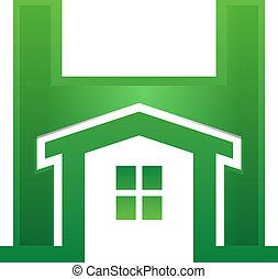 Home in Letter - Green Home inside H letter
