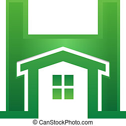 Home in Letter - Green Home inside H letter