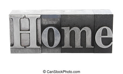 Home in metal letters