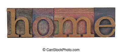 home in wooden printing blocks