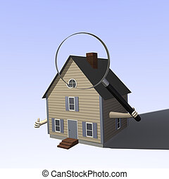 Home Inspection - A 3D house holding a magnifying glass.