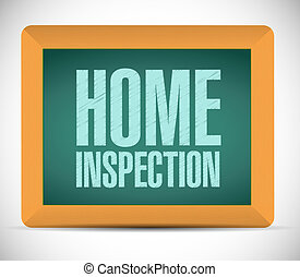 home inspection board sign illustration design over a white...