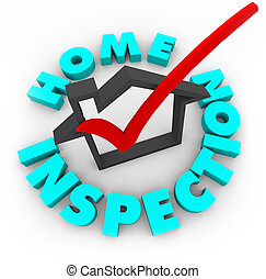 A red check mark in a house box, surrounded by the words Home Inspection