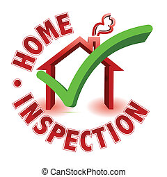 Home inspection - check mark in a house box, surrounded by ...