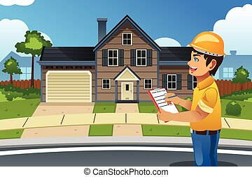 Home Inspector in Front of a House