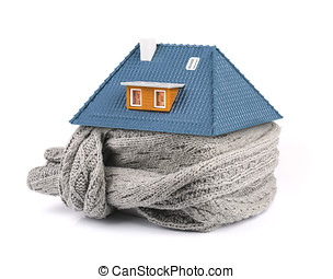 home insulation concept. scarf around the house