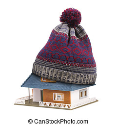 home insulation or insurance concept. hat on house roof isolated on white
