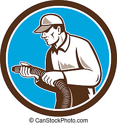 Home Insulation Technician Retro Circle - Illustration of a...