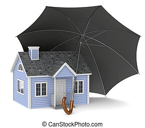 Home Insurance - A red house protected by an Umbrella