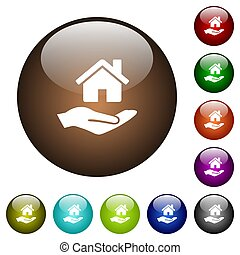Home insurance color glass buttons