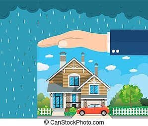 Home insurance concept. Hands protecting house from danger....