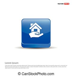 Home Insurance Icon - 3d Blue Button