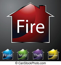 Home Insurance Icons - An image of home insurance icons
