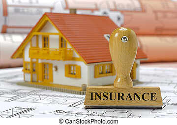 home insurance - insurance marked on rubber stamp with model...