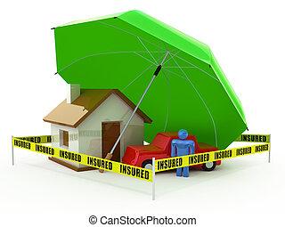 Insurance concept - Home Insurance, Life Insurance, Auto...