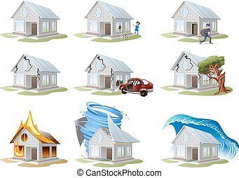 Home insurance. Property insurance. Big set house insurance...