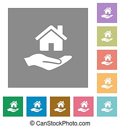 Home insurance square flat icons