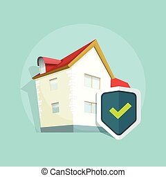 Home insurance vector, real estate property protection, house protected concept