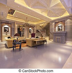 home interior 3d rendering
