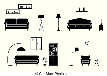 Home interior black and white set