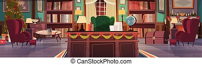 Home Interior Decorated For Christmas And New Year Holidays, Empty Workplace Office Desk And Armchair With Garlands Pine Tree House Decoration Concept