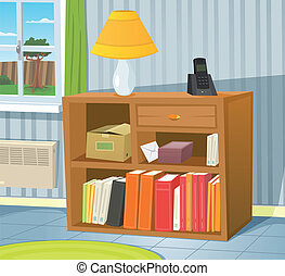 Illustration of a cartoon room interior scene with bookshelf on the wall and spring or summer backyard landscape in the window