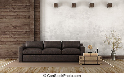 Home interior in rustic style with leather couch and old ...