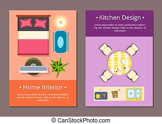 Home Interior Kitchen Design Vector Illustration