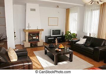 Home interior - livingroom - Home interior with fireplace...