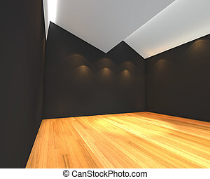 empty room black wall with Ceiling serration