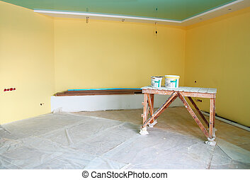 home interior renovation with trestle and paint